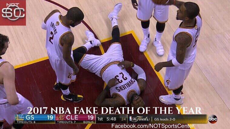 BREAKING: LeBron James wins 2017 NBA Fake Death of the Year #NBAAwards