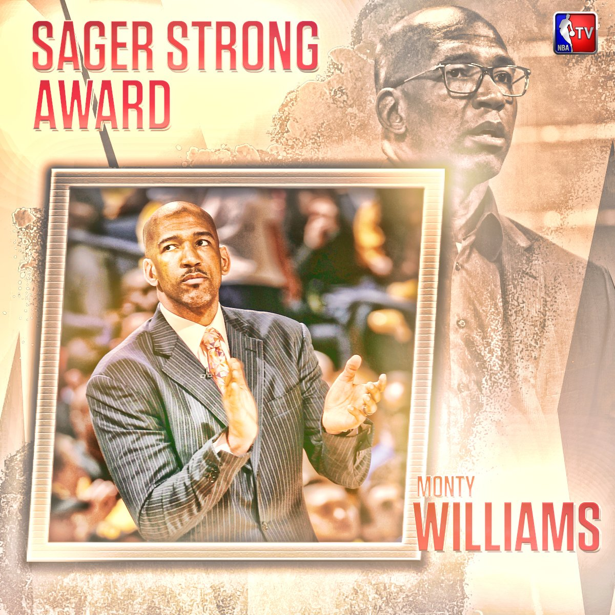 The inaugural #SagerStrong Award goes to Monty Williams. #NBAAwards ht...