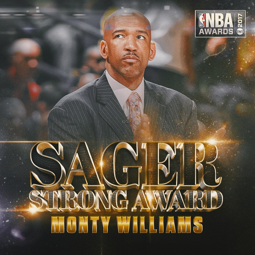The 2017 #SagerStrong Award goes to... Monty Williams! #NBAAwards http...