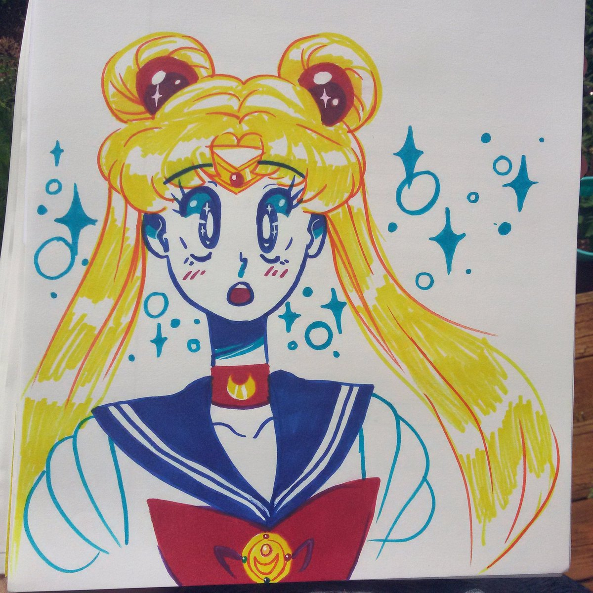 Found some sharpies so I did a doodle . #traditionalart #character #sharpie #doodle #sketch #art #drawing #sailormoon #usagi #fanart<br>http://pic.twitter.com/giJNOVcvdq