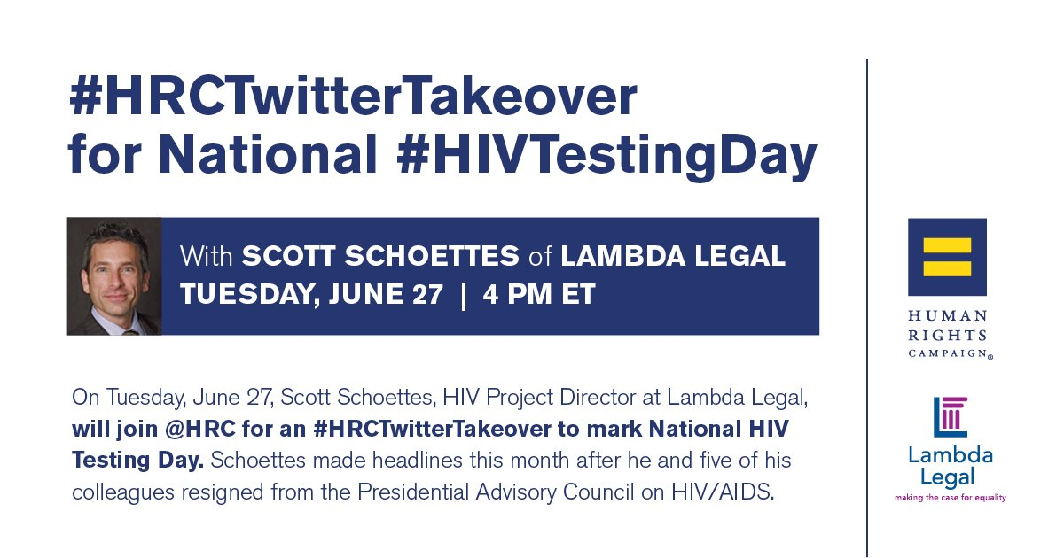 Scott Schoettes (@PozAdvocate) resigned from the Presidential Advisory Council on HIV/AIDS.Hear his story today @ 4pm ET #HRCTwitterTakeover