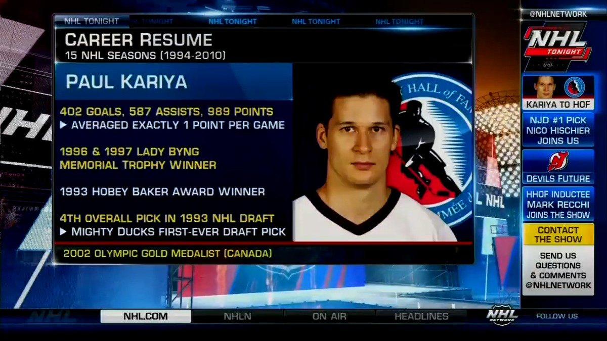 Congratulations to Paul Kariya on becoming a #HHOF-er! #NHLTonight htt...