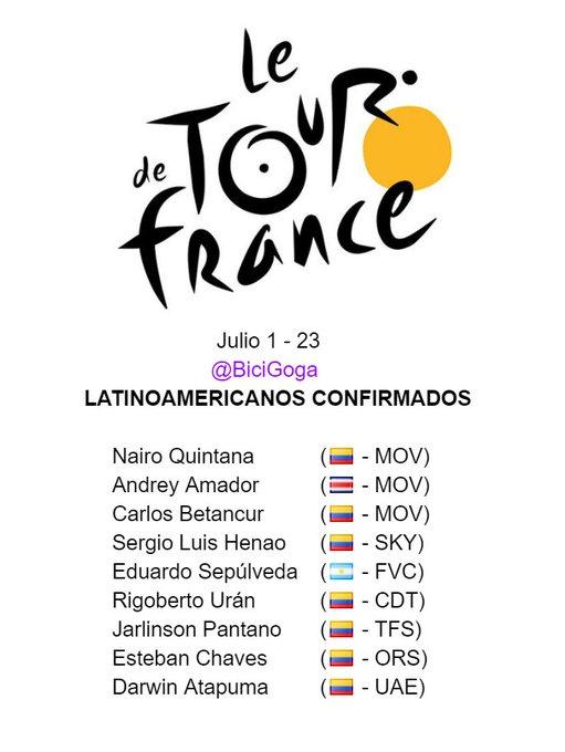 9 latinoamericanos han sido confirmados para participar en el #TDF2017 del 1 al 23 de julio