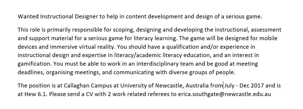 Job 4 #eLearning &amp; #SeriousGame @Dice_Research - #teachers &amp; #instructionaldesign folk come &amp; work with our interdisciplinary team #edutech<br>http://pic.twitter.com/NdYCVpmziO