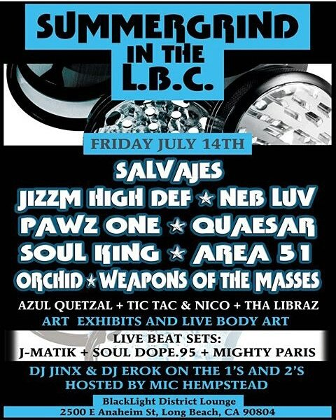 JULY14TH. We go live #LBC #Salvages @JizzmHighDef @NEBLUV @PAWZ1 @SoulKing_SK #Orchid #Weapons @TheMightyParis &amp; more!... #undergroundhiphop<br>http://pic.twitter.com/nYQbqv2B75