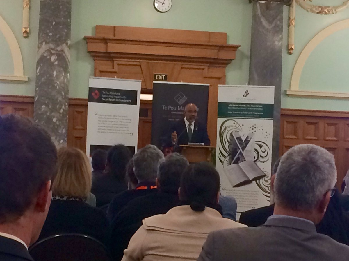 &quot;Whanau ora delivering life changing results&quot; Honoured to have Hon. @TeUruroaFlavell launching our SROI reports today. #WaiSROI17 #impact <br>http://pic.twitter.com/bbBKN7r6FR