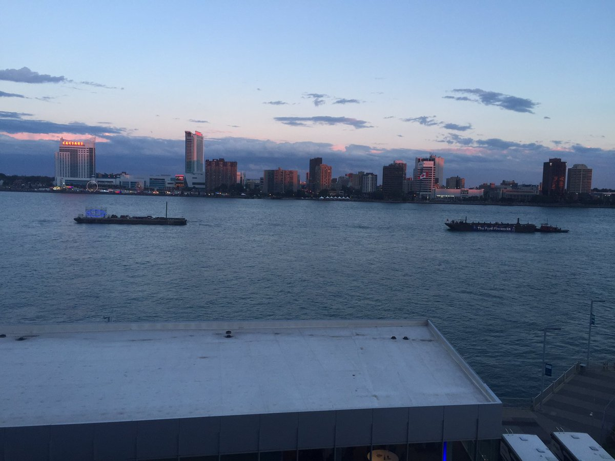 The sun is setting on the Detroit River and the #FordFireworks show is...