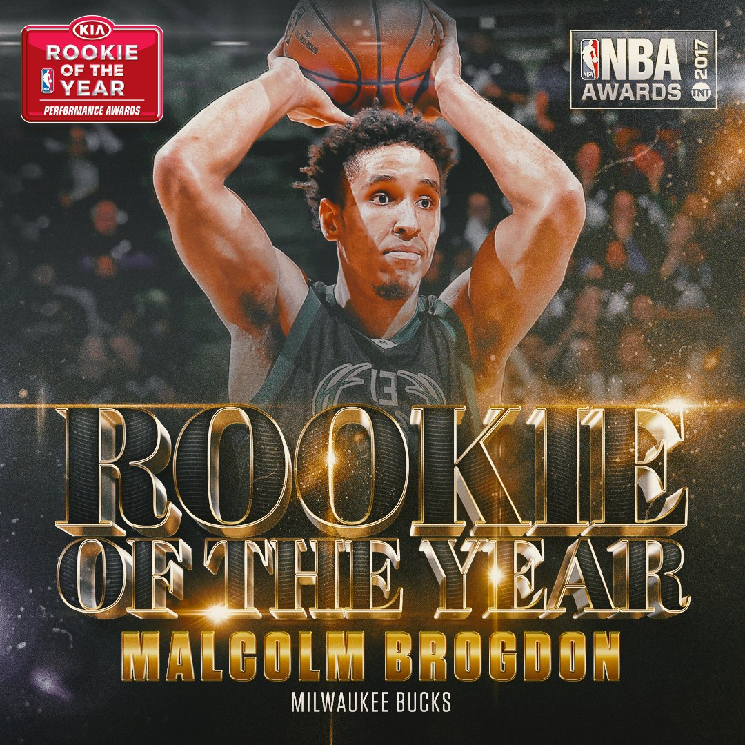 The 2017 @Kia Rookie of the Year is Malcolm Brogdon of the @Bucks ! #N...