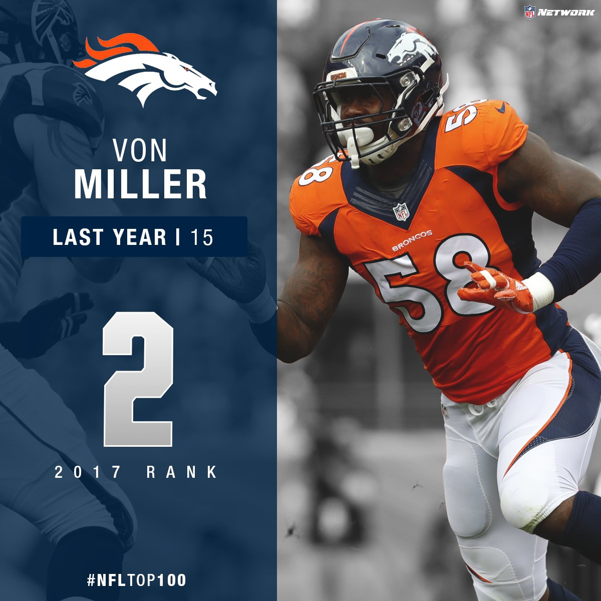 VONNNNNNNN!!!!!!  Five 10-sack seasons since entering NFL  Voted No. 2...