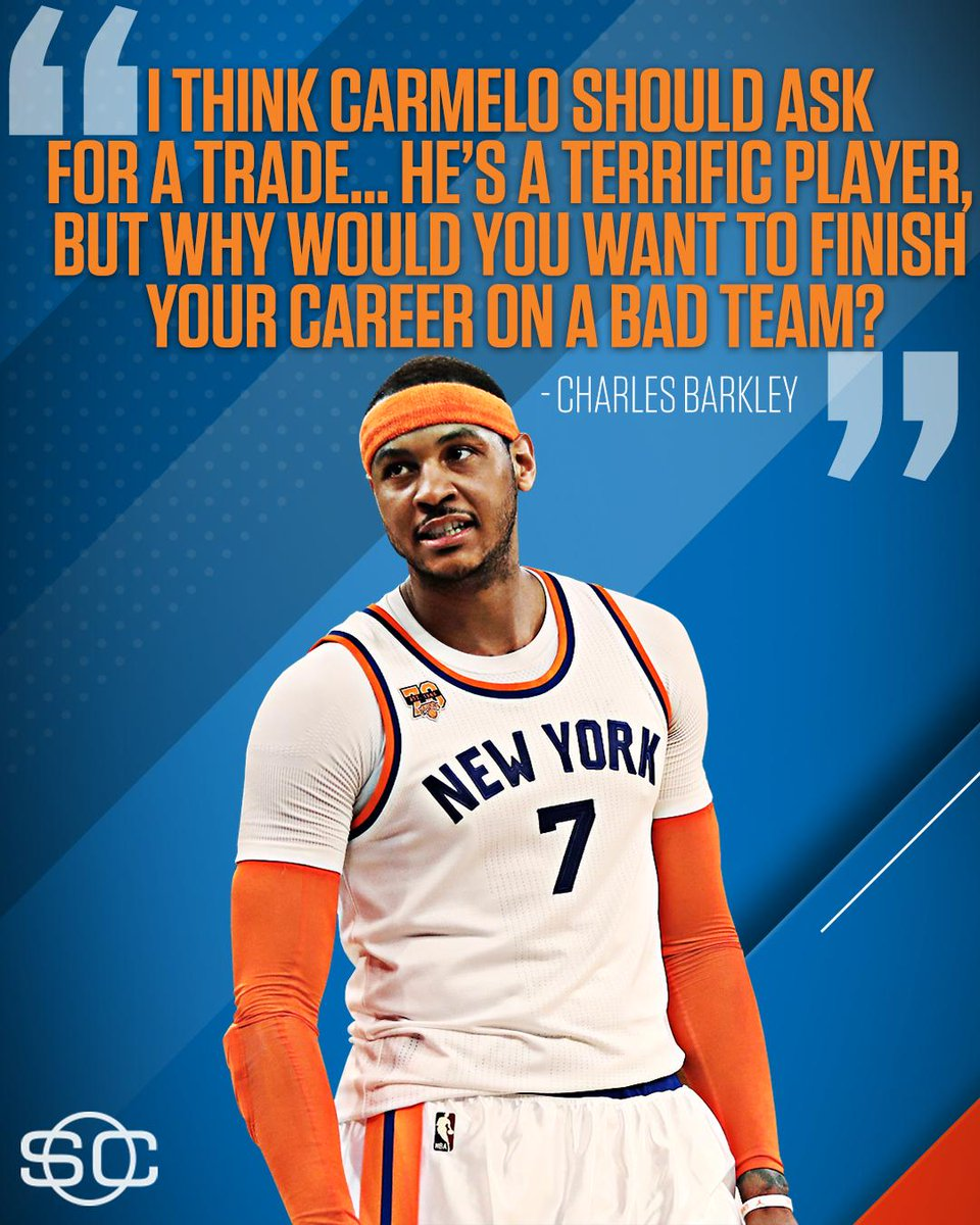 Charles Barkley thinks Melo should ask out of NYC. https://t.co/V46rG1...