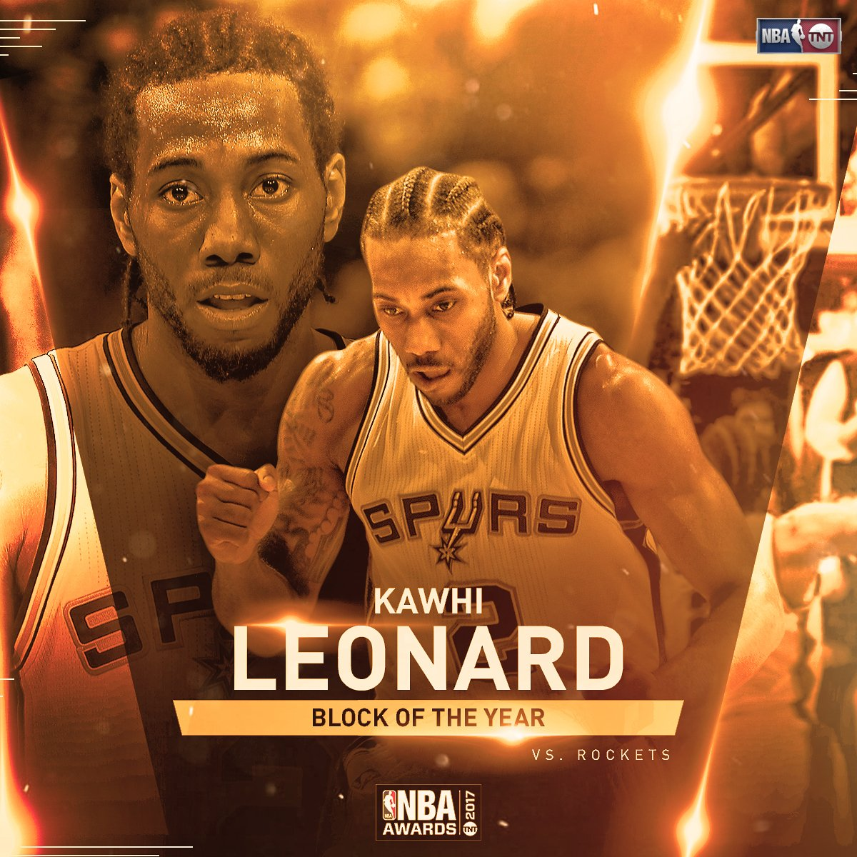 Kawhi Leonard wins the fan vote for Block of the Year! #NBAAwards http...
