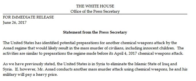The Trump administration issues a statement warning Assad not to conduct a chemical attack Spicer claims he's preparing for: