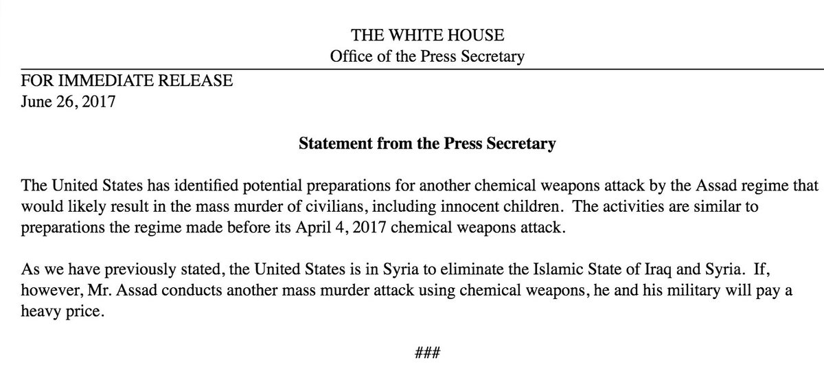 A strong warning from the White House on the future use of chemical we...