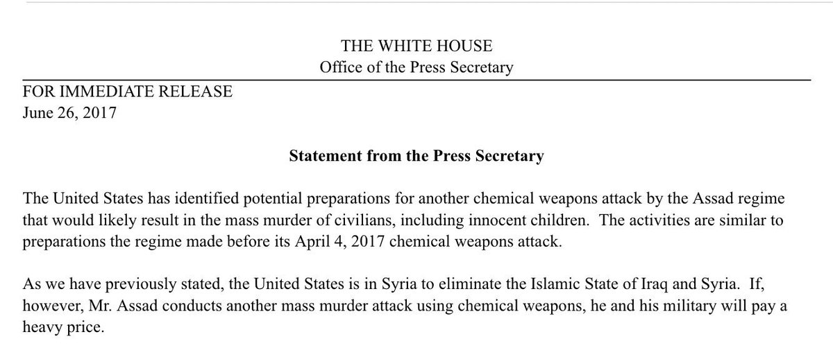 In ominous statement WH says Assad regime preparing for another chemic...