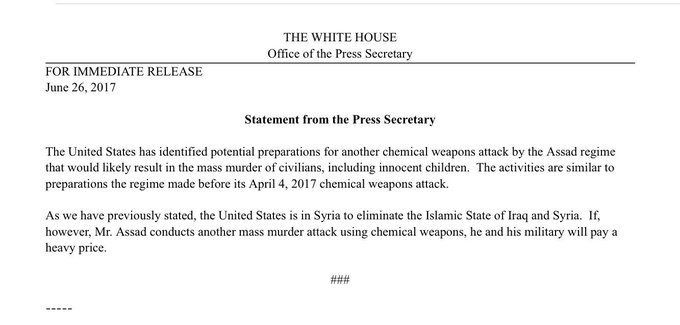 BREAKING: WH says has seen possible preps for chemical attack by Assad regime, who will pay 'heavy price' if used. https://t.co/jn8limUSe7