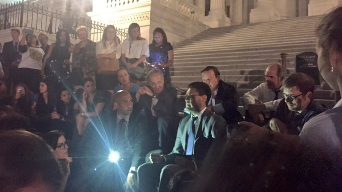 We're out on the Senate steps hearing stories of children with preexisting conditions, adults fearing lifetime caps. #Trumpcare