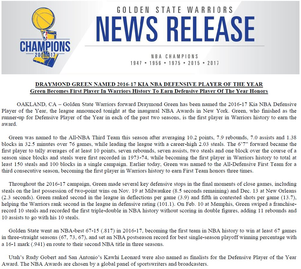 Draymond Green is the first player in Warriors history to earn Defensi...