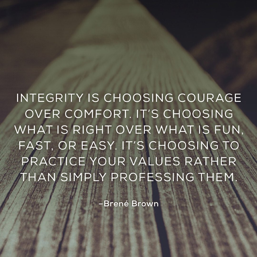 Integrity is choosing #courage over #comfort. When we practice what we preach our #truth emerges. #MondayMotivation<br>http://pic.twitter.com/Ps5WAczQFM