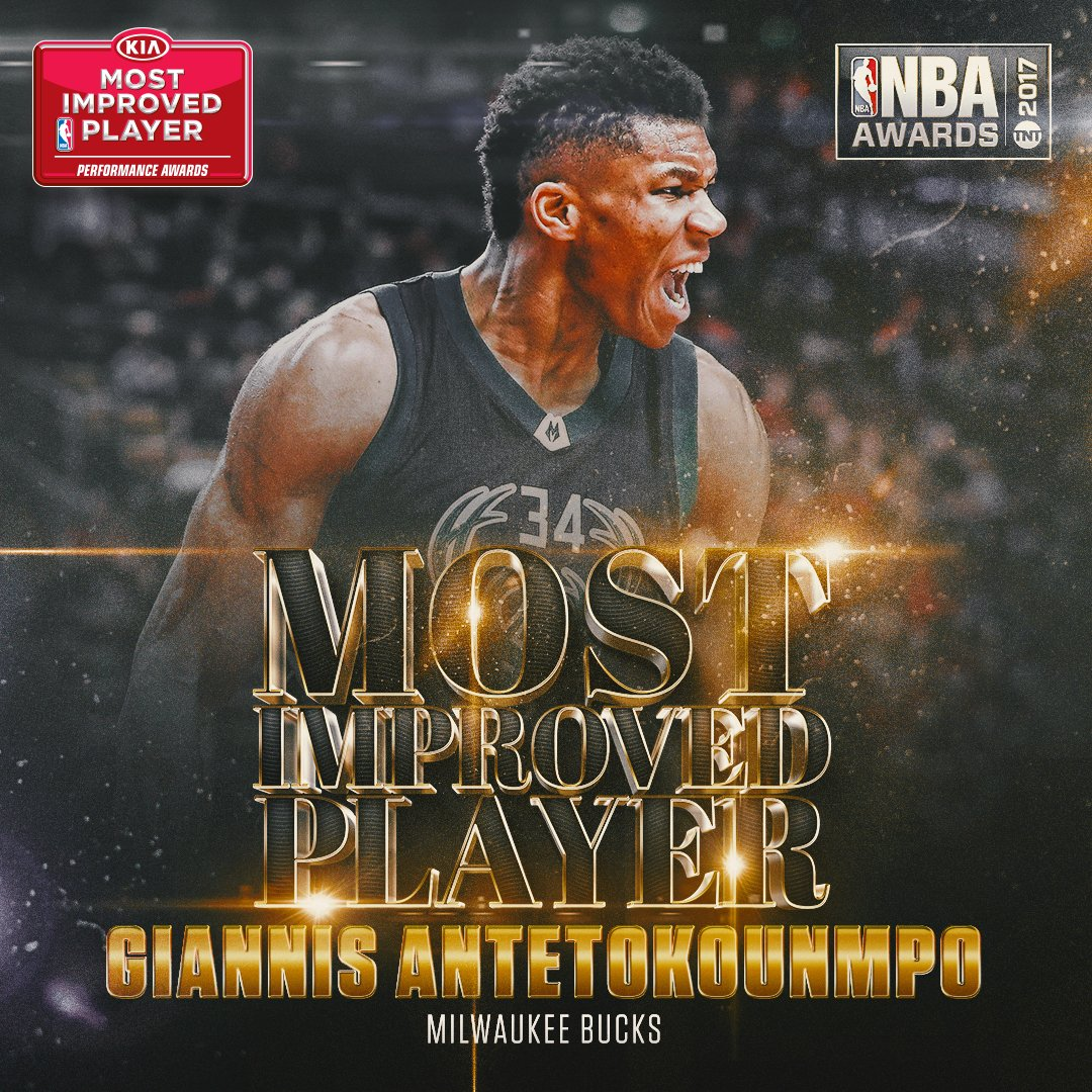 The 2017 @Kia NBA Most Improved Player is...@Giannis_An34 of the @Buck...