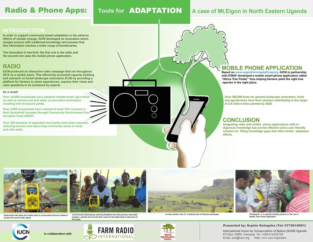 And the best poster winner at #CBA11 is... @IUCN's Tools for adaptation: radio & phone apps --> https://t.co/AUvmYOgBzI https://t.co/6razZ6PgTo