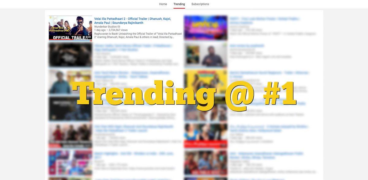 #VIP2 Trailer Trending #1 in #YouTube #dhanush #Amalapaul #kajol #soundaryaRajinikanth  https://www. youtube.com/watch?v=rfJqdf Uzz3g&amp;feature=youtu.be &nbsp; … <br>http://pic.twitter.com/uMd1W8tKbZ