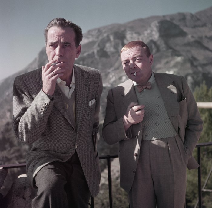 Humphrey Bogart and Peter Lorre on the set of Beat the Devil, 1953......