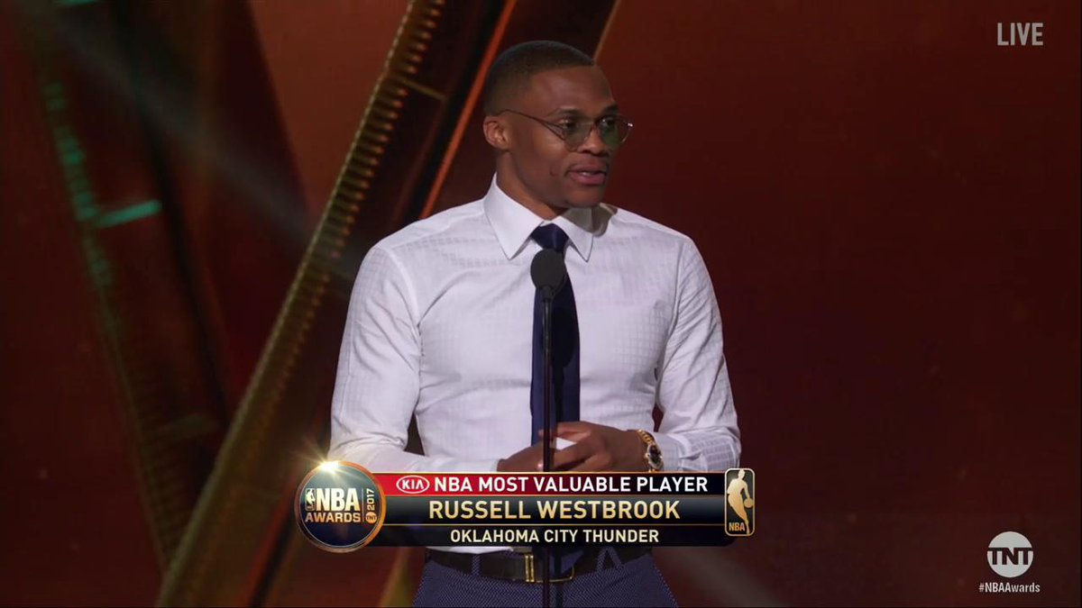 Here's Russ' speech via @NBAonTNT. Russell Westbrook showing the side...
