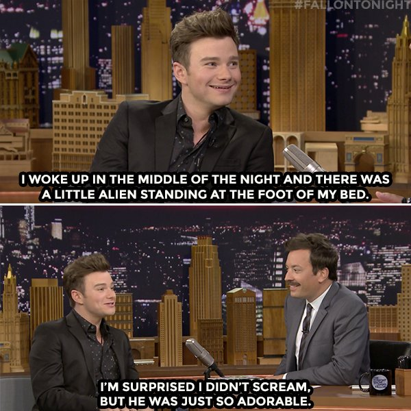 👽 @ChrisColfer had a real-life alien encounter... 👽 #FallonTonight htt...