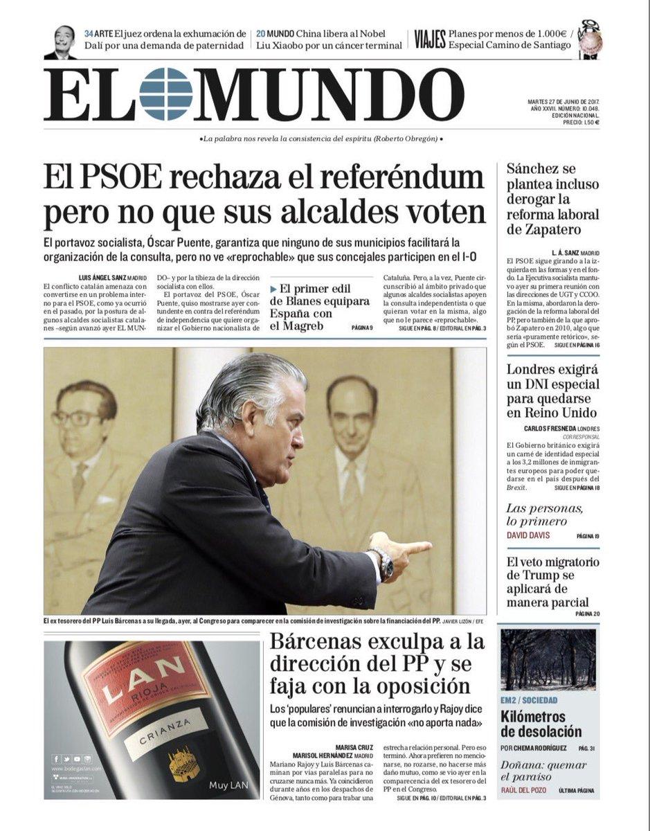 ☕️🗞 Buenos días. Esta es la portada de EL MUNDO de este 27 de junio #F...