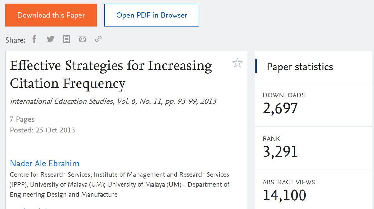 33 simple strategies to increase citation frequency of your publications :: SSRN  https:// papers.ssrn.com/sol3/papers.cf m?abstract_id=2344585 &nbsp; …  #ResearchVisibility #ResearchImpact<br>http://pic.twitter.com/NwKlJRsgUH
