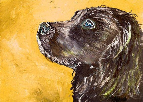 Cocker Spaniel Dog Painting Orange, working cocker Print , fine art  p...