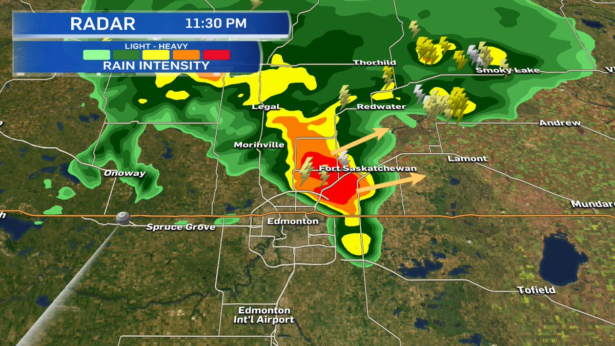 at 11:30pm - storms moving out of the NE corner of the City of #yeg ....