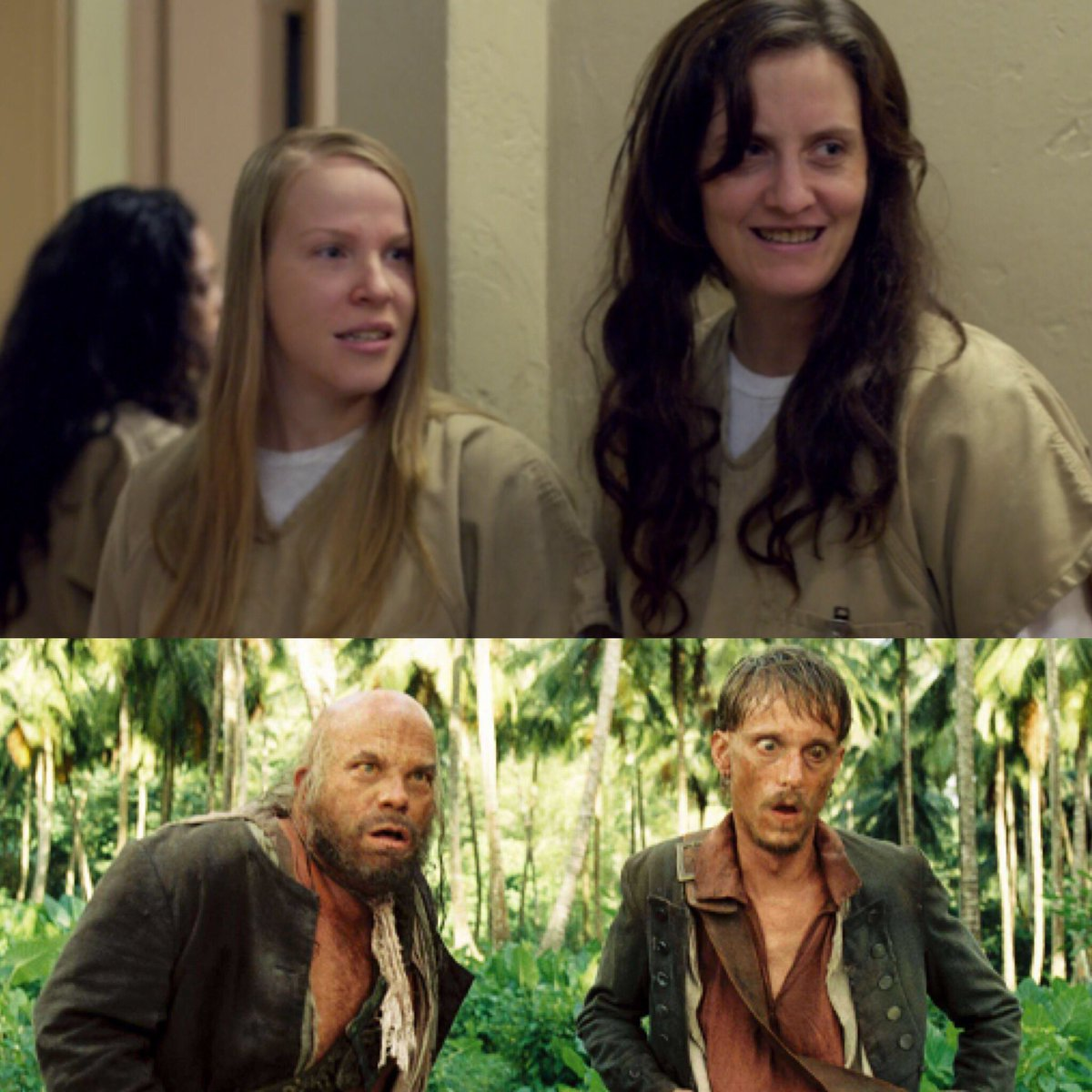 I figured out the recipe for the comic relief duo = bad teeth and height difference  #OITNB5 #POTC5 <br>http://pic.twitter.com/cVHAaRK7ae