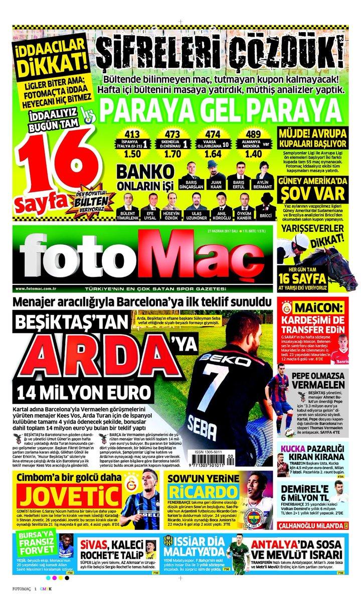 🗞️'Beşiktaş'tan Arda'ya 14 milyon Euro' Gazetelere 1 dakikada göz atın...