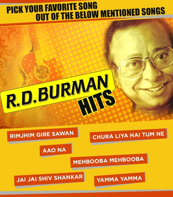 We wish R D Burman a very happy birthday!  Pick your favorite song of R D Burman from the image below.