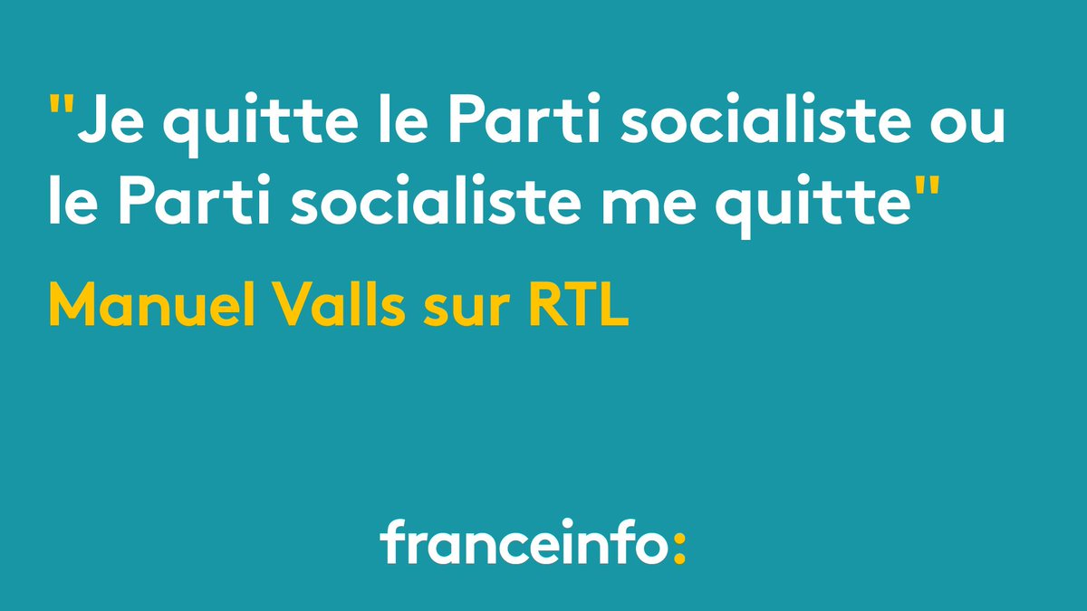 L'ancien Premier ministre Manuel Valls annonce qu'il quitte le Parti s...