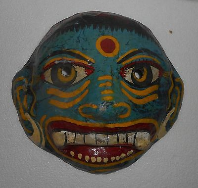 #Halloween #fun Vintage Paper Mache Mask Yellow, Red, Blue &amp; Black Color Scary Devil Hand Made  http:// dlvr.it/PQMnKv  &nbsp;   <br>http://pic.twitter.com/cR6GesMHKy