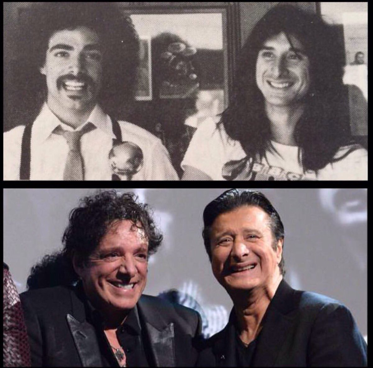 Then and now... Smiles are still the same  #StevePerry  #nealschon  #journey  @JourneyOfficial #RRHOF #brotherhood #TeamSchonPerry<br>http://pic.twitter.com/tdxFnWWsqd