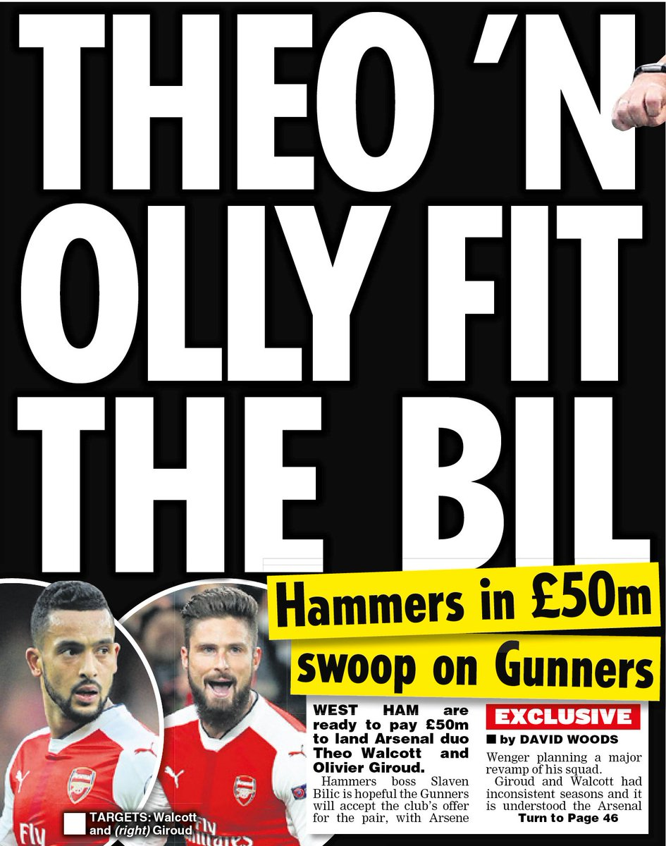 Giroud and Walcott on their way to #WHUFC ? Daily Star says Bilic will pay £50m for the #Arsenal pair. <br>http://pic.twitter.com/ai4csmlt2k