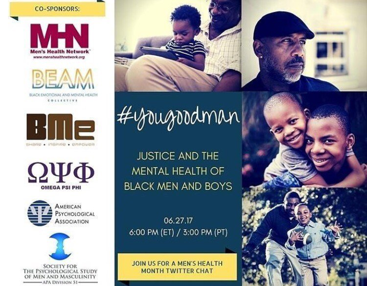 TODAY! #YouGoodMan TweetChat on mental health of black men and boys featuring @julboatwright @BMeCommunity (6PM) https://t.co/J3jwDfArqT