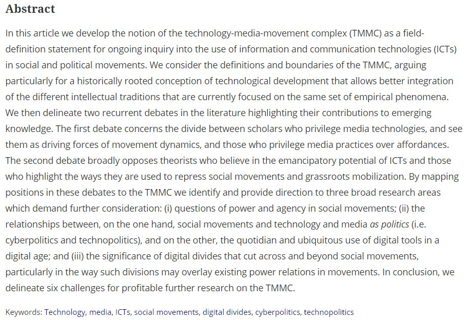 Free access to my latest #SMS article, Navigating the Tech-Media-Movements Complex. (First 50 clicks only)   http://www. tandfonline.com/eprint/PWFSnvB Qt2Aptx7rXdA2/full &nbsp; … <br>http://pic.twitter.com/Z7kO3EVr4Q