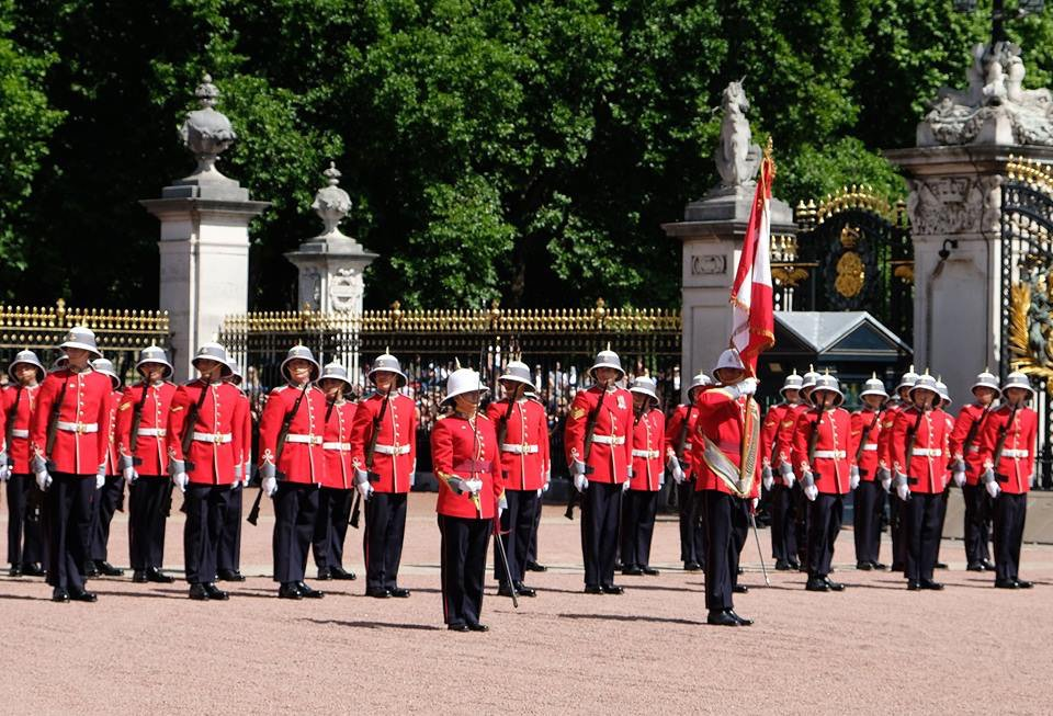 Today at #BuckinghamPalace, Canadian soldier Megan Coutu, became the first woman to Captain The #Queen's Palace Guard. #cdncrown #cdnpoli <br>http://pic.twitter.com/N5RUVtmPeW