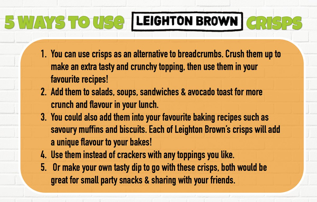 @LeightonBrownLC Crisps are a fantastic #snack! But why not try using them as an #ingredient in your favourite #recipes? Heres some ideas:<br>http://pic.twitter.com/6dP7P7DPUm