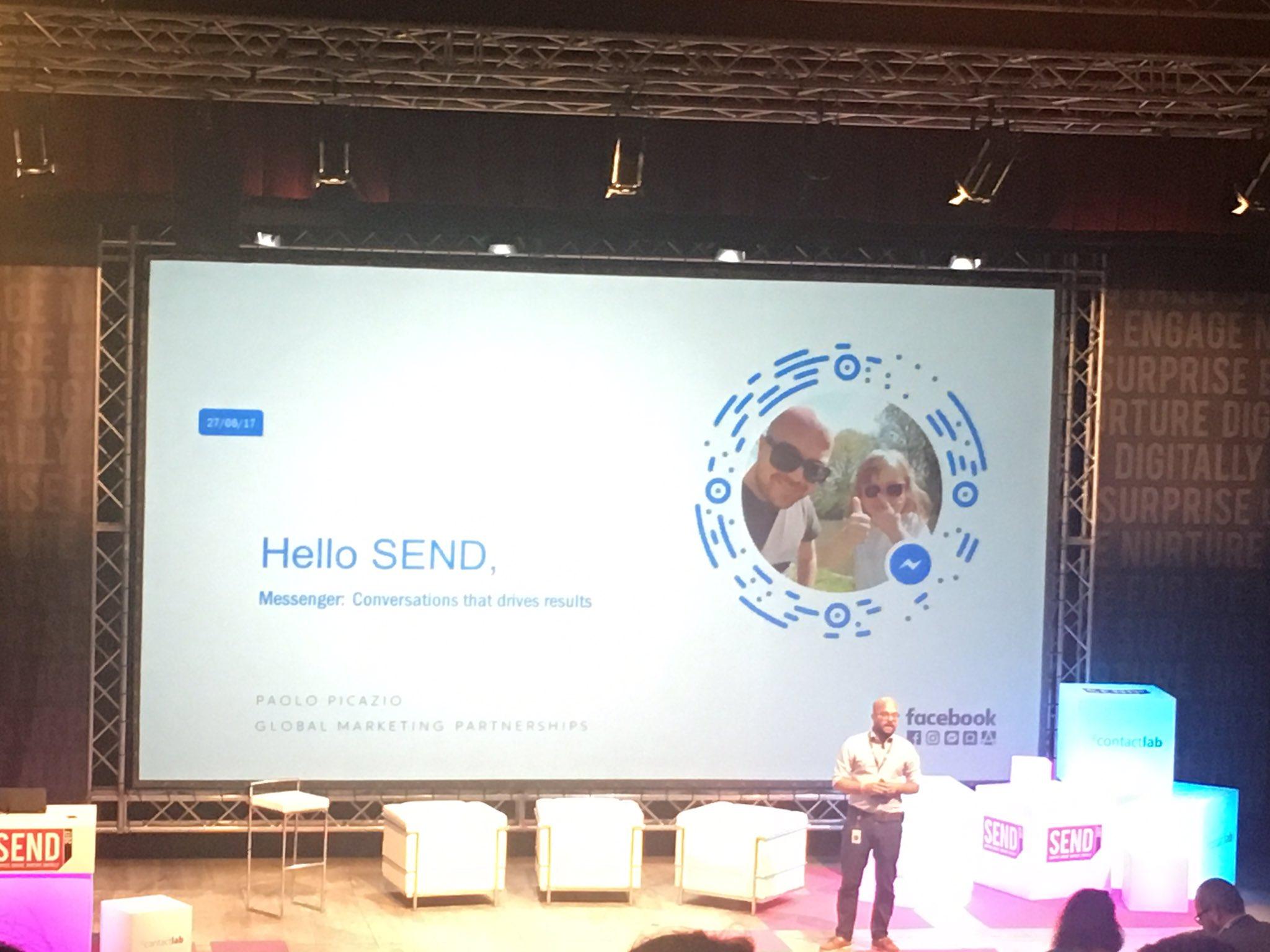 Sul palco di #SENDSummit17 @paolopicazio ci parla di #Facebook e app di messaggistica https://t.co/D9VThYzbxg