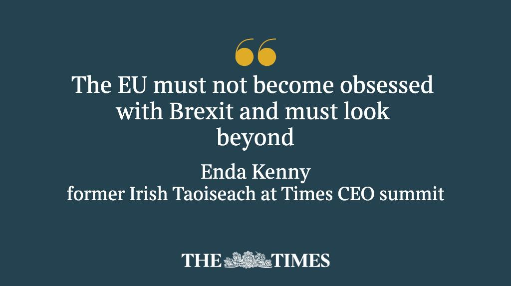 .@EndaKennyTD tells #TimesCEOSummit that the EU must push on without U...