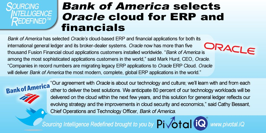 @Oracle to deliver @BankofAmerica the most modern, complete, global #ERP applications in the world #fintech #cloud #Banking<br>http://pic.twitter.com/O8FMk1DiHO
