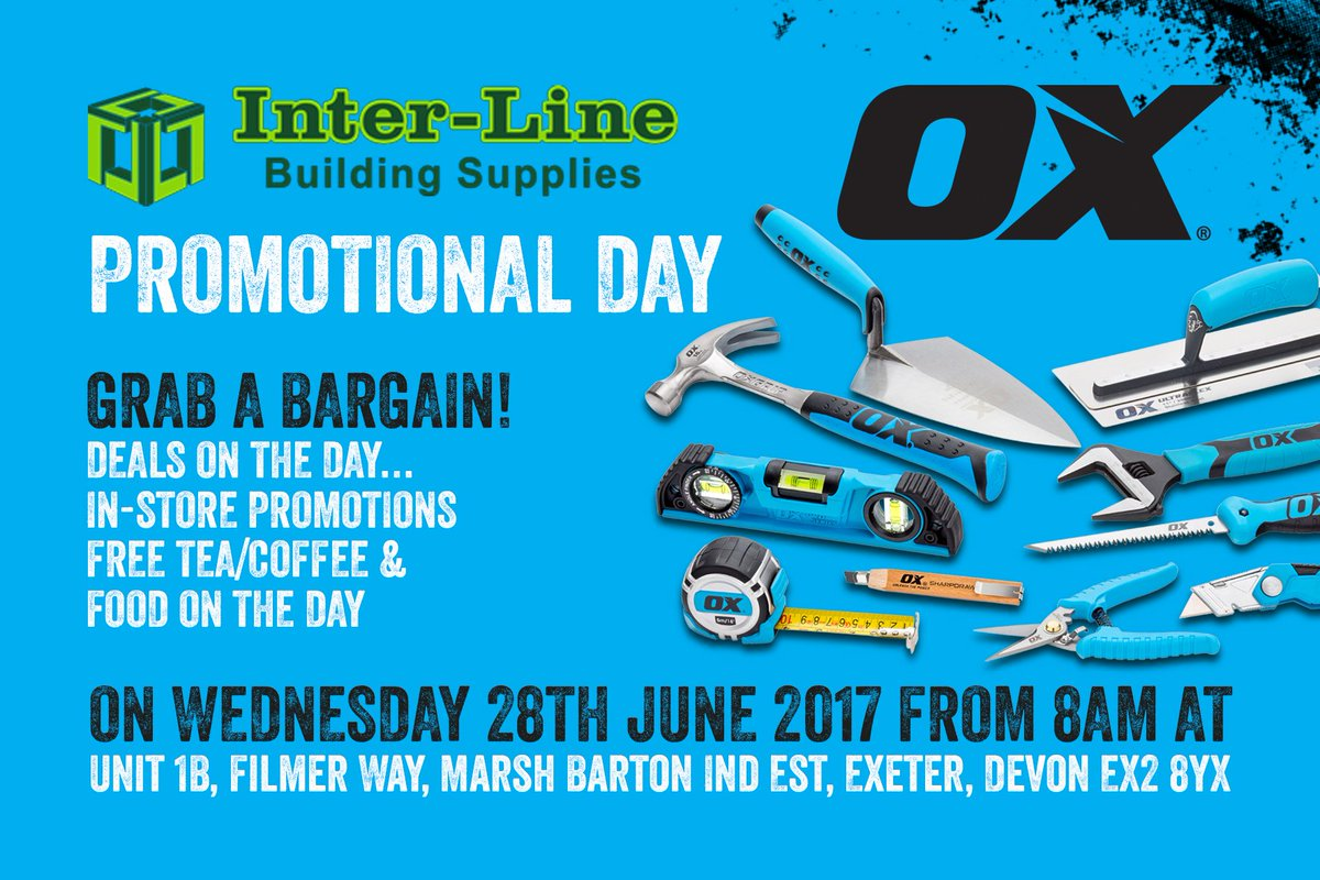Are you in the #Exeter area? visit the #PROMO Day at Inter-Line Building Supplies (EX2 8YX) for #Exclusive one day only #Deals<br>http://pic.twitter.com/OByvOsMqgz
