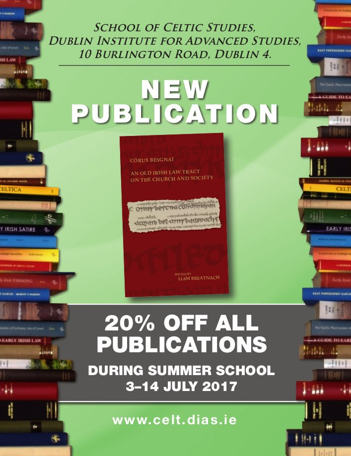 test Twitter Media - During the School of Celtic Studies #SCS2017Summer School @SCSLibrary , 3–14 July, there will be a 20% discount off all publications https://t.co/YzEJTw8PXQ