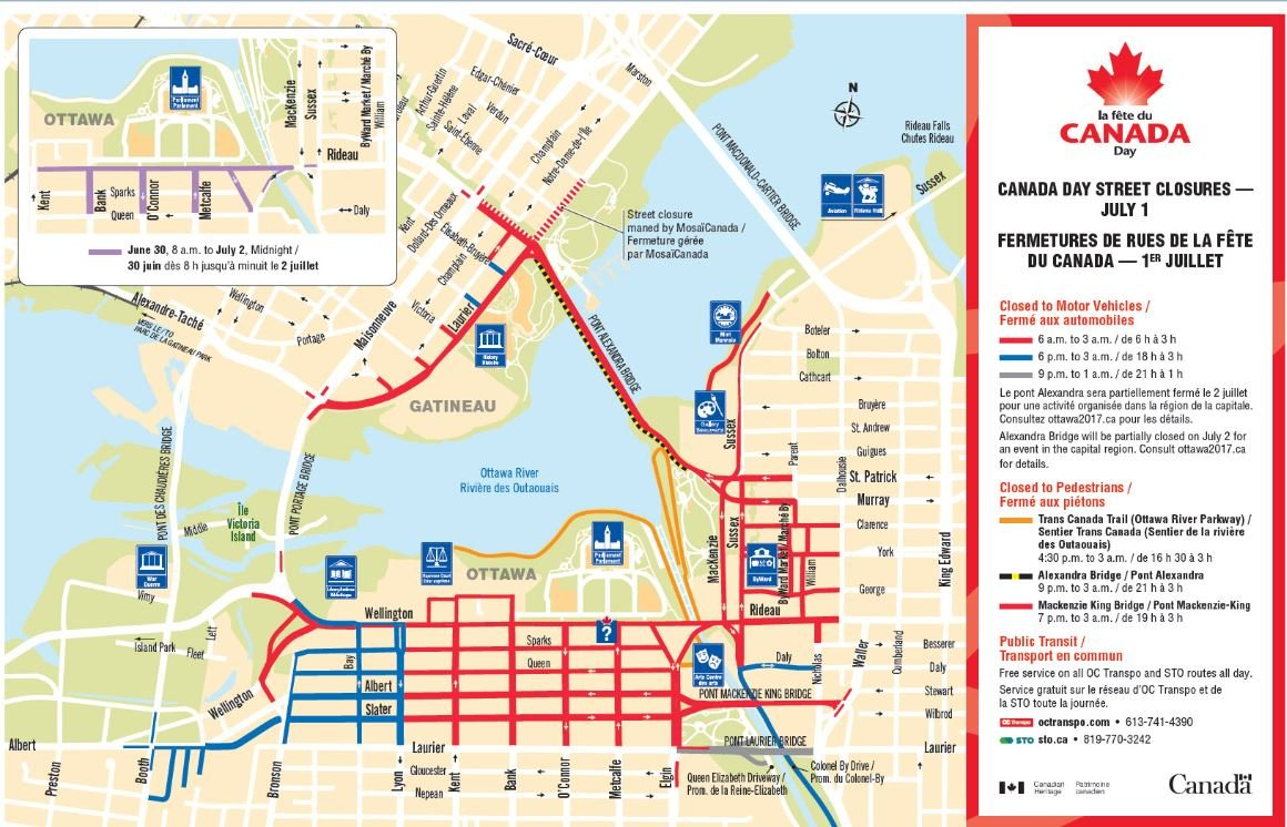 First of the road closures ahead of Canada Day begin today! Wellington...