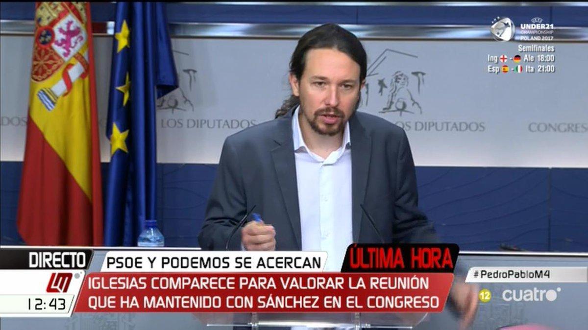 Comparece @Pablo_Iglesias_ tras la reunión con @sanchezcastejon #Pedro...